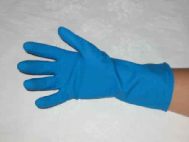 Latex voedingshandschoen blauw
