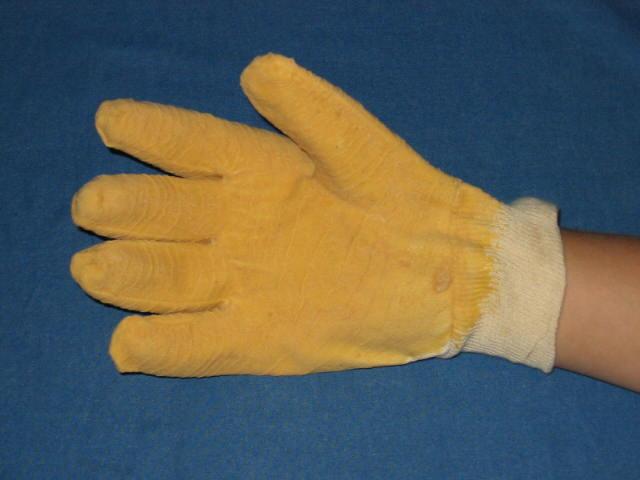 Tricot handschoen met latex palmcoating