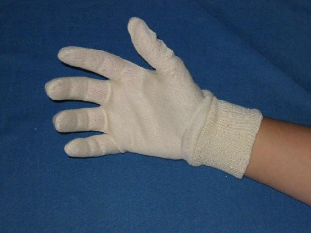 Tricot handschoen met boord.