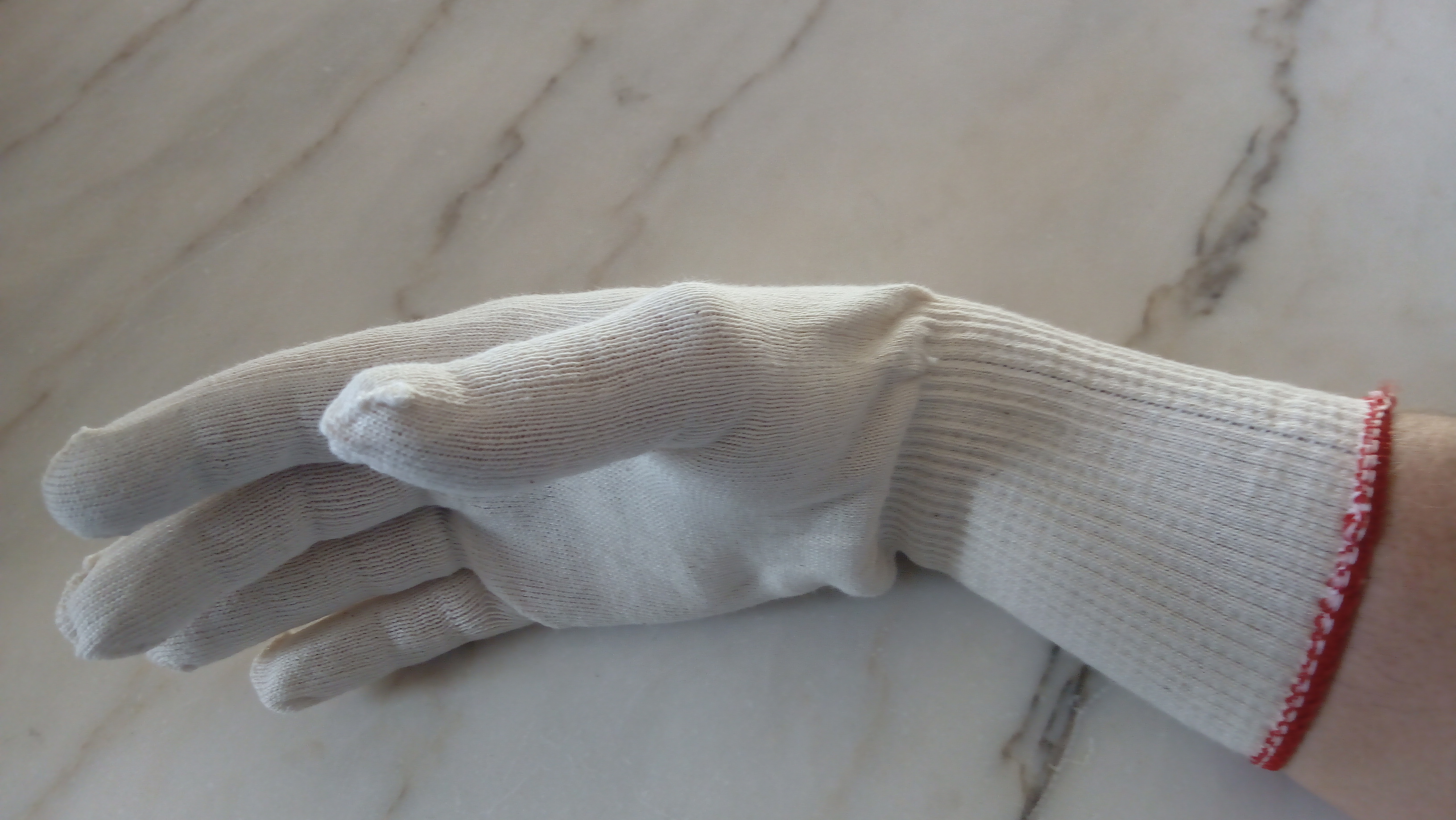 Katoenen handschoen lang rode band